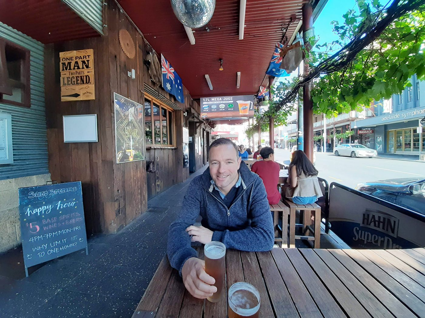 Drinking a beer in Adelaide city centre