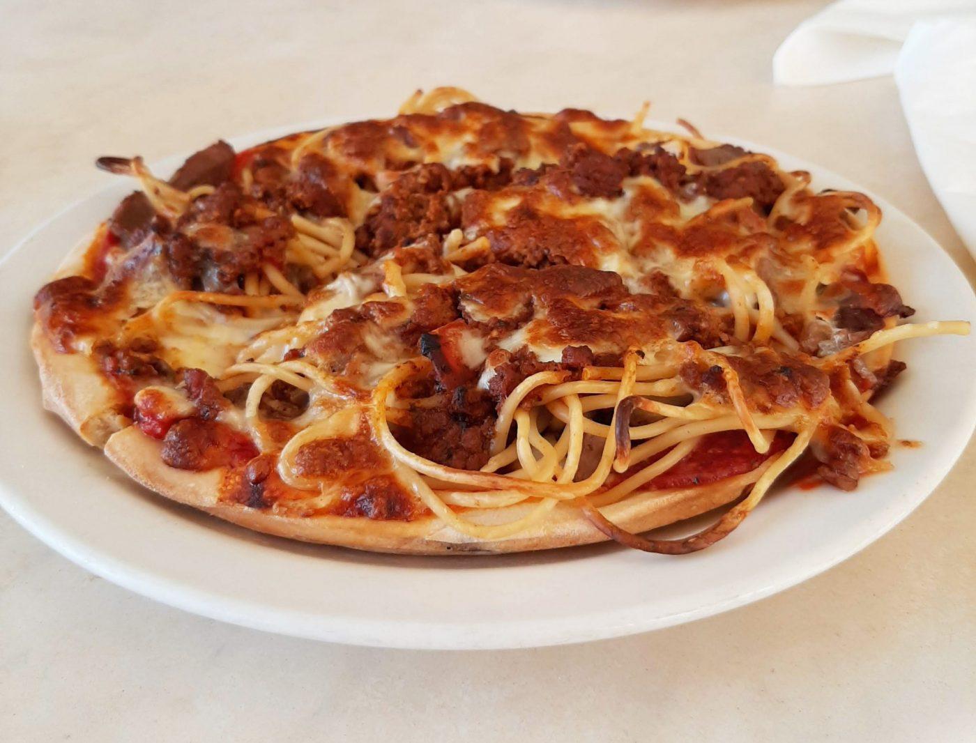 Spaghetti pizza - John's Pizza Restaurant