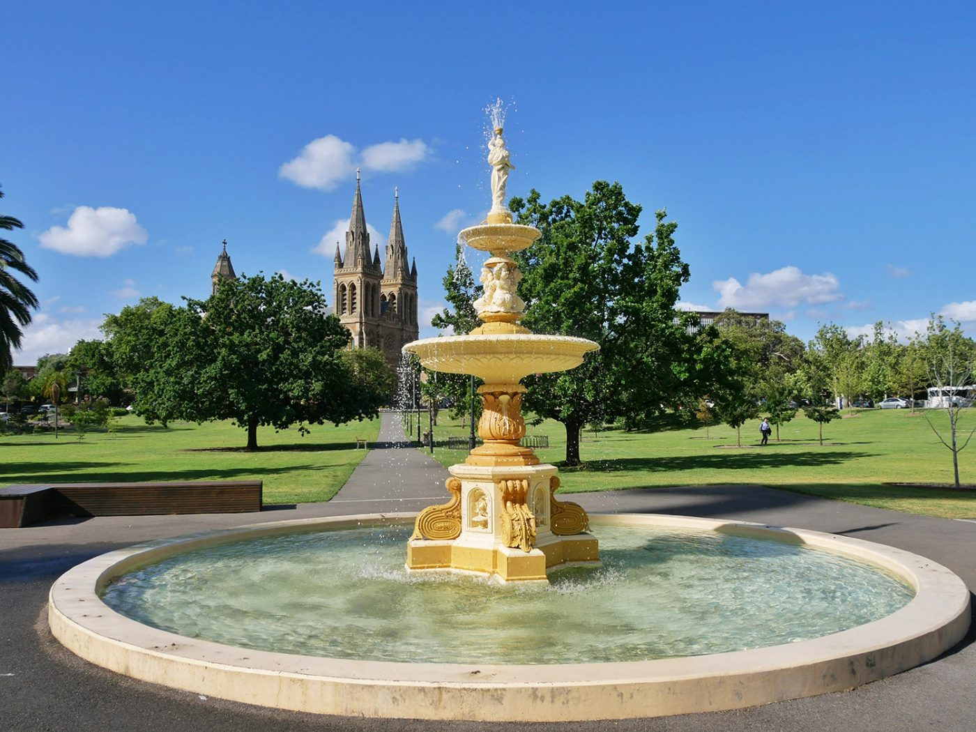 Fountain and view at he St Peter's Cathedral