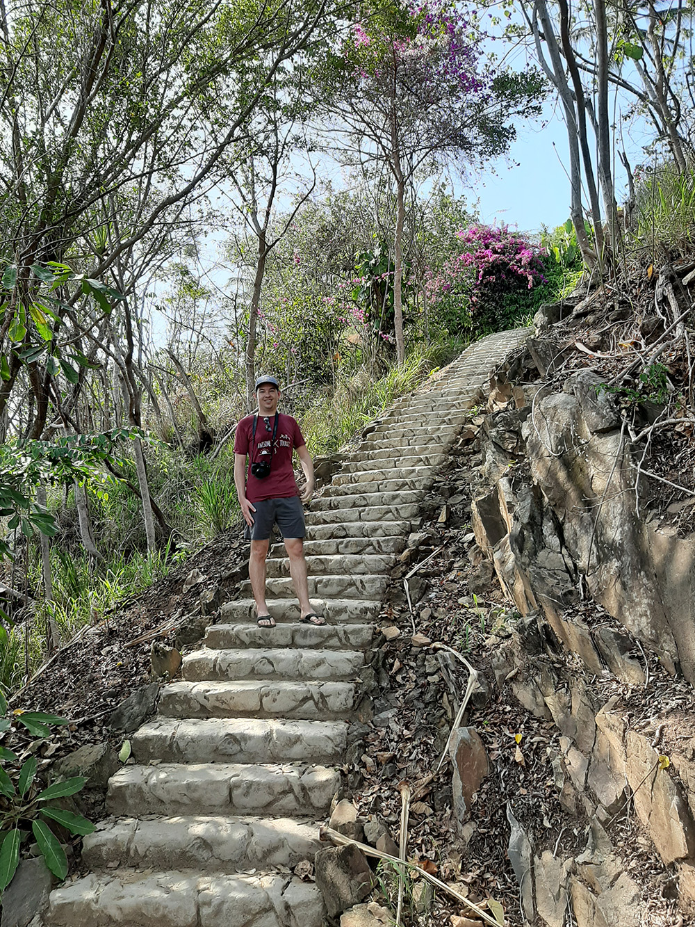 Steep stairs down back to the coast