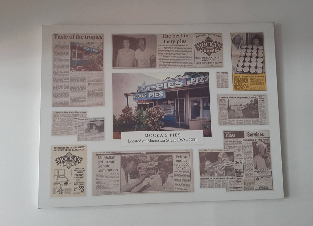 Newspaper clippings about Mocka's Pies