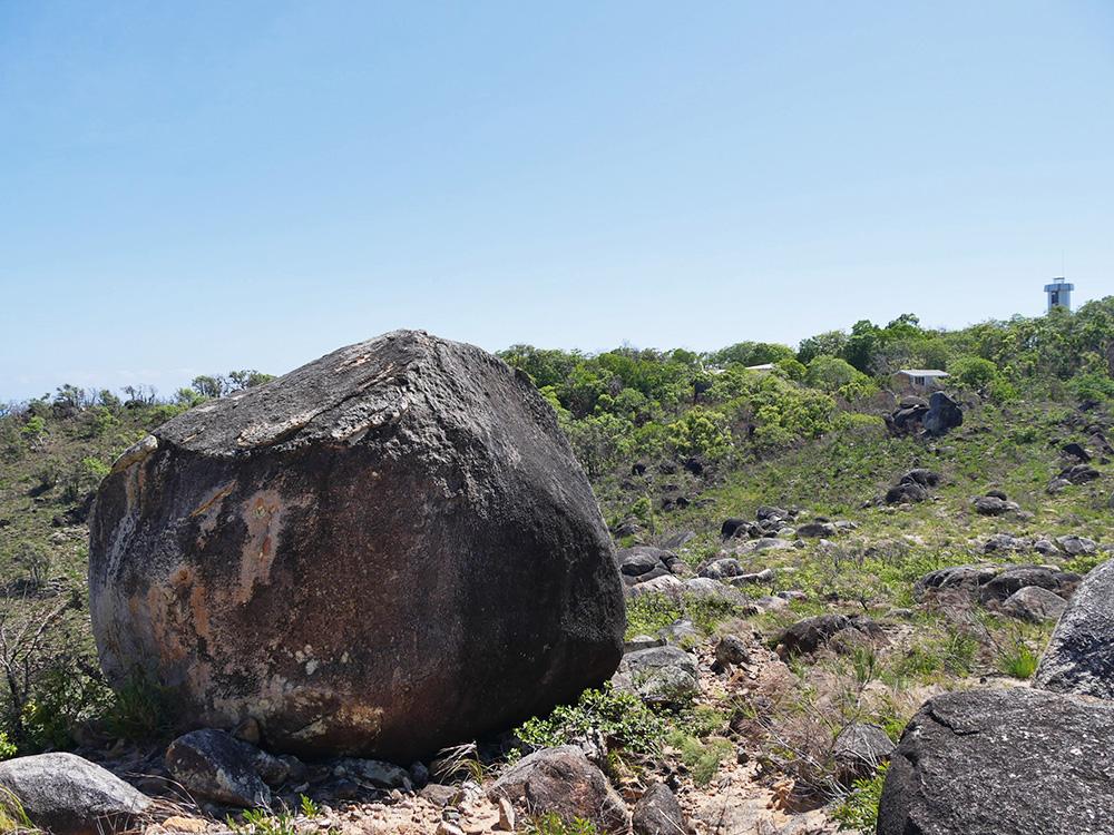 We passed big rocks during the hike