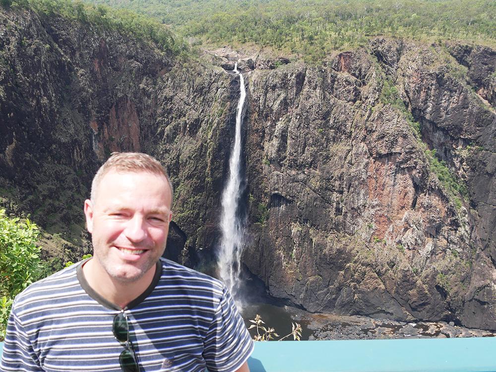 Martin in front of the Wallaman Falls